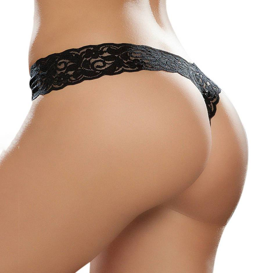 Mapale Black Lace High Leg Thong
