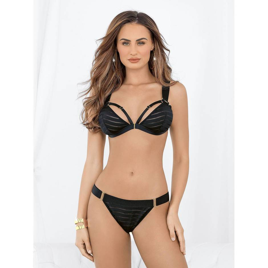 Escante Black Striped Front-Fastening Bra Set