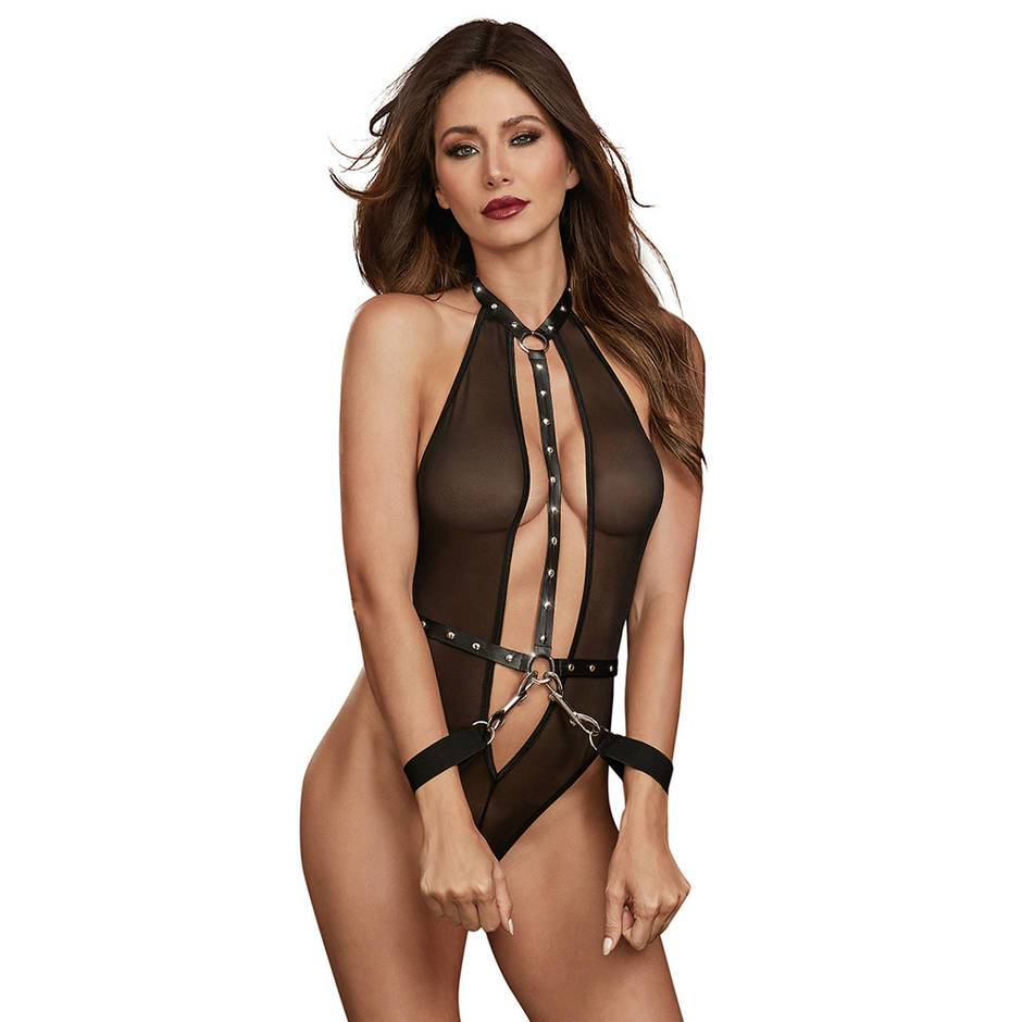 Dreamgirl Faux Leather and Mesh Studded Body