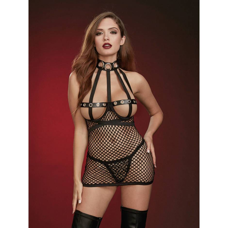 Dreamgirl Black Fishnet Open-Cup Chemise Set