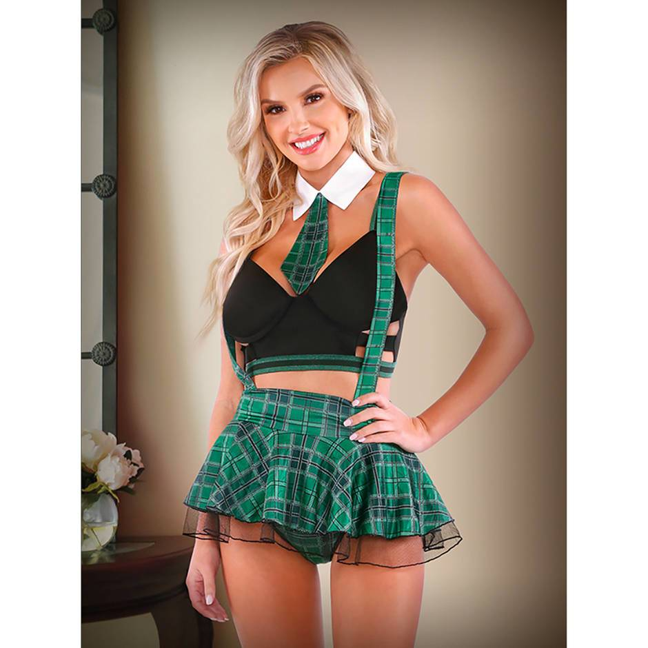 Fantasy Green Bra and Tartan Skirt Set