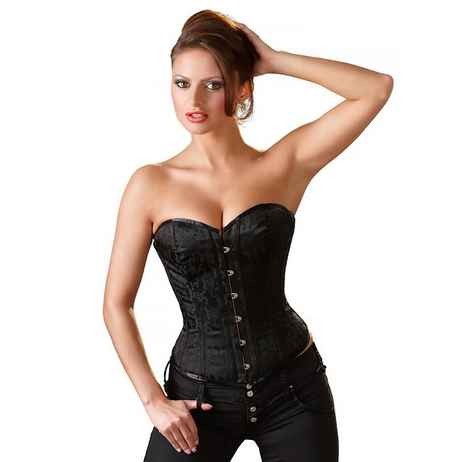 Cottelli Black Brocade Lace-Up Corset