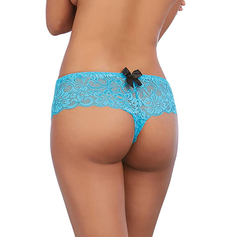 Culotte fendue dentelle noeud fantaisie turquoise, Dreamgirl