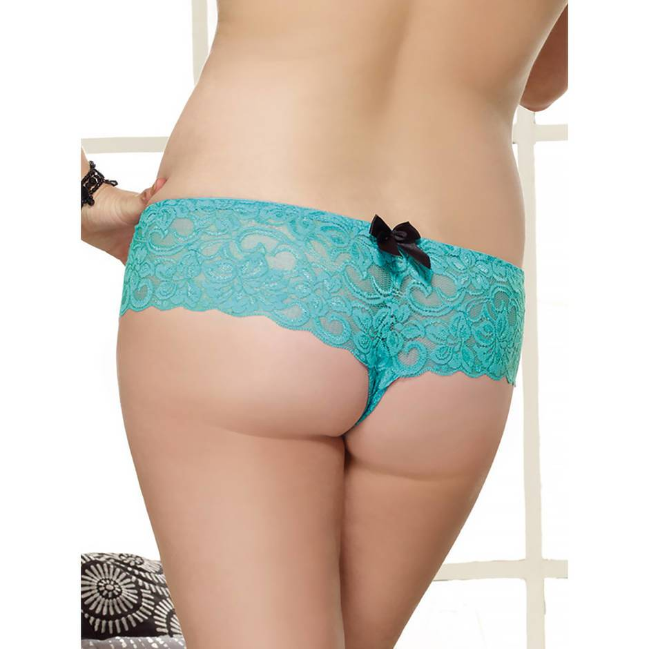 Dreamgirl Plus Size Turquoise Lace Bow Detail Crotchless Knickers