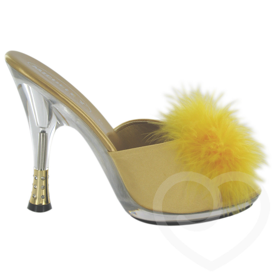 Marabou Pom Pom Sandals with Diamante Heel