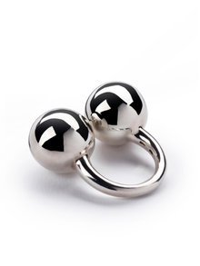 Betony Vernon Sterling Silver Double Sphere Massage Ring Size N