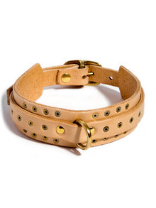 Fleet Ilya Thin Studded Leather Collar Nude