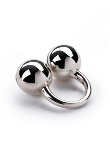 Betony Vernon Sterling Silver Double Sphere Massage Ring Size O