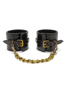 Paul Seville Black Snakeskin Moulded Wrist Cuffs