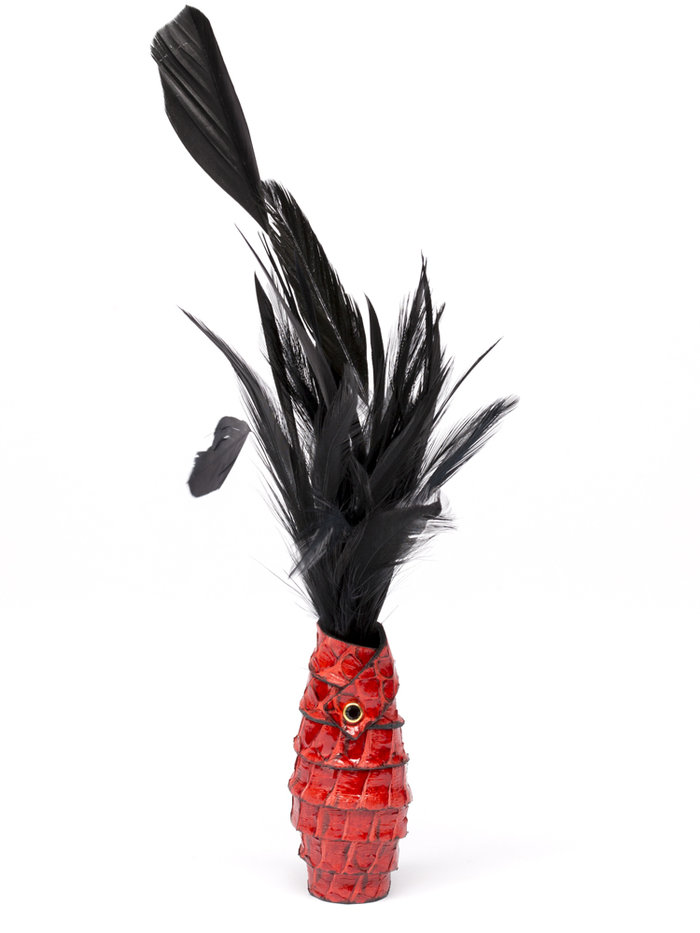 Paul Seville Red Feather Tickler with Snakeskin Handle