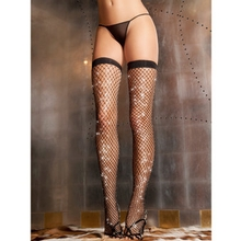 Rene Rofe Sparkling Diamond Net Thigh High Stockings