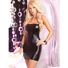 Pink Lipstick Wet Look Strapless Mini Dress