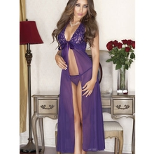 iCollection Floor Length See Through Chemise Set