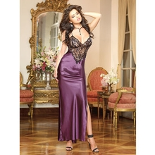 Dreamgirl Full Length Satin Gown with Scalloped Lace