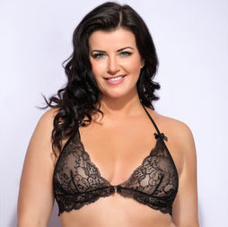 Lovehoney Plus Size Love Me Lace Halter Bra Black