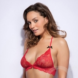 Lovehoney Love Me Lace Halter Bra Red