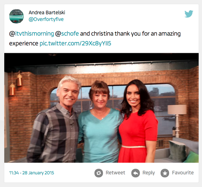 Andrea ITV This Morning Guest Who Tweet
