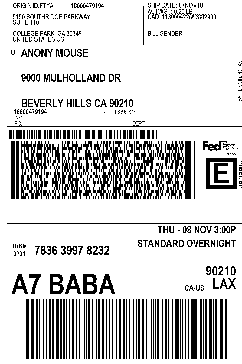 Your Lovehoney.com address label, with discreet sender's address