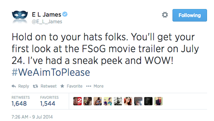 E L James confirms movie trailer date!