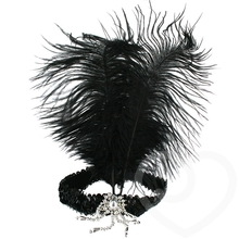 Ostrich Feather Burlesque Flapper Head Band