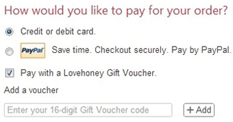 Payment options at Lovehoney