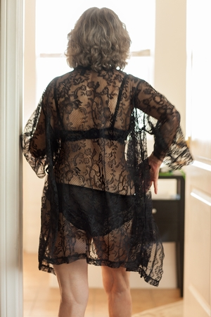 joan in lace robe