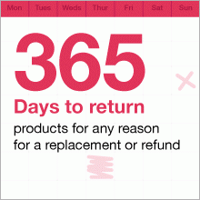 365 days to return products for any reason