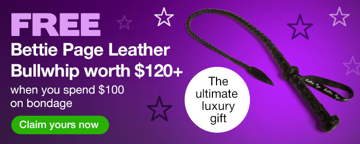 Free Bettie Page Leather Bullwhip with $100 Spend