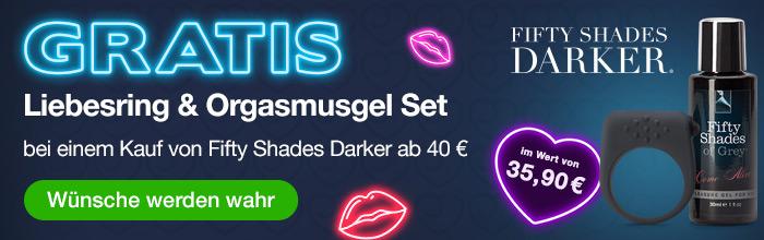 ^ GRATIS Liebesring und Orgasmusgel Set ab 40€ Einkaufswert auf Fifty Shades Darker