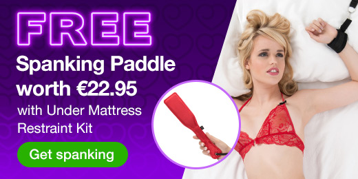 ^ FREE Spanking Paddle worth €22.95 with Under Mattress Restraint Kit