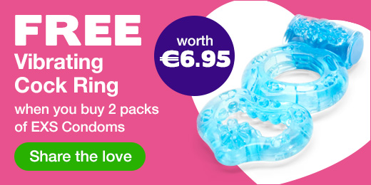 FREE vibrating cock ring when you buy 2 packs of EXS condoms