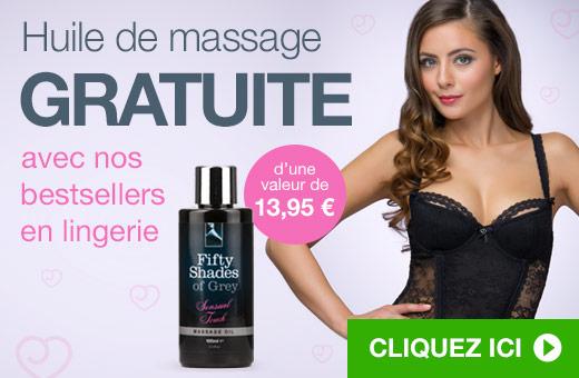 Huile de massage GRATUITE avec nos bestsellers en lingerie