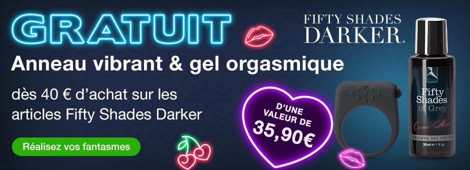 ^ Anneau pénien vibrant et gel orgasmique GRATUITS dès 40 € d'achat sur Fifty Shades Darker