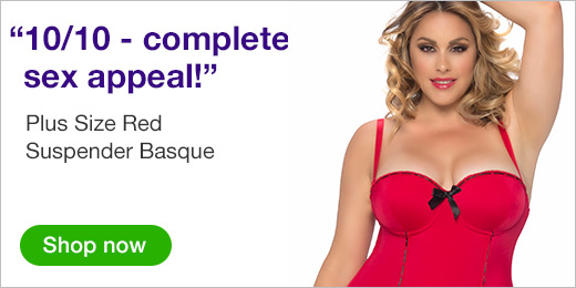 Plus Size Red Suspender Basque