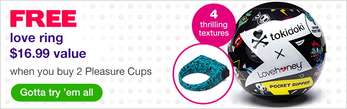 ^ Tokidoki Free Love Ring when you buy two pleasure cups