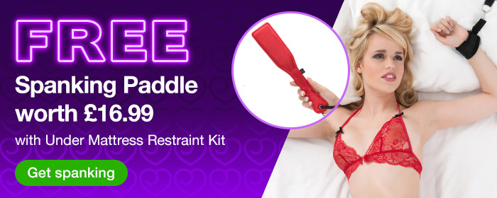 ^ FREE Spanking Paddle worth 16.99 with Under Mattress Restraint Kit