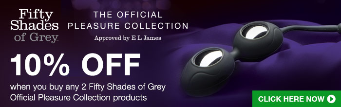 10% Off when you buy any 2 Fifty Shades of Grey Official Pleasure Collection