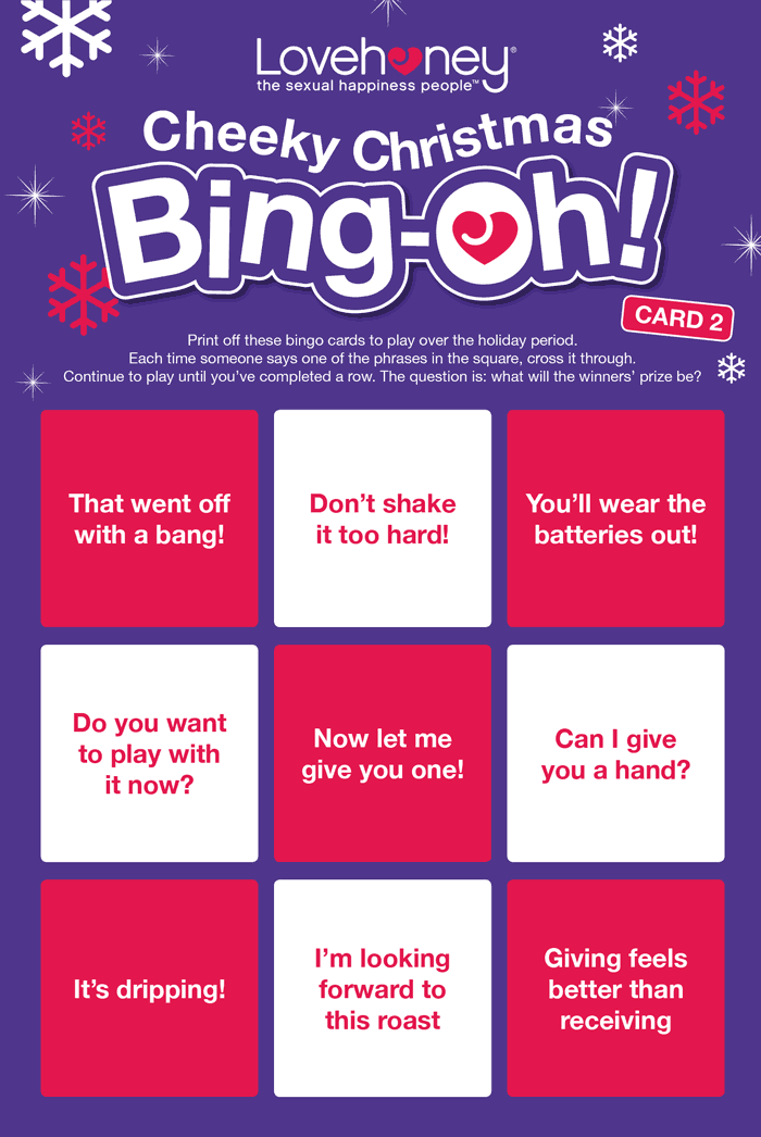 Cheeky Christmas Bingo Card 2