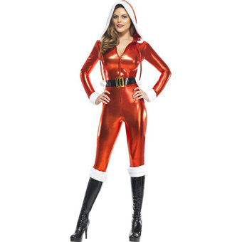 Fever Sexy Santa Wet Look Catsuit