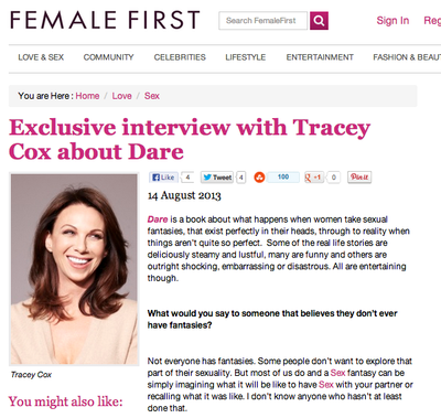 Tracey Cox talks to Female First about Dare!