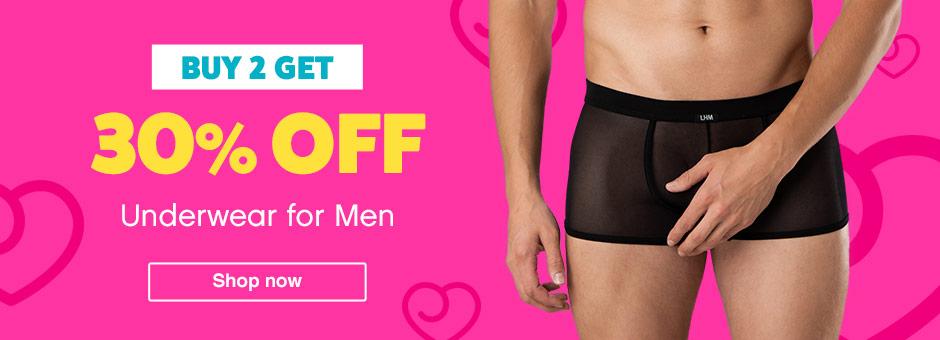 buy 2 get 30% off underwear for men